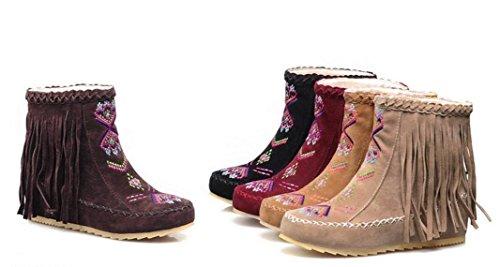 Cortas Botas 2017 Tassel Casual Mujer Eu 43 Planas Ankel Invierno Cordones return 34 Nuevo no Bordado Toe 43 Auturm Tamaño Seude Size Zapatos Beige Botas Color Botas Redonda 8Oc6fcPq