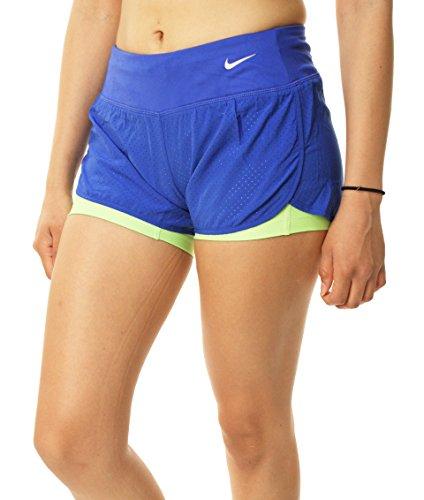 Nike pantalón rival perforated 2-In-1 pantalones cortos para mujer blau/grã¼n