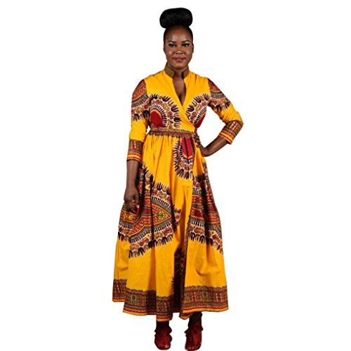 [XUANOU Women Cloak Ethnic Style African Print Casual Long Sleeve Dresses (X-large)] (Yellow Tank Dress Costumes)