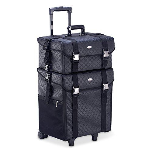 Professional Makeup Artist 2 in 1 Rolling Makeup Train Case Cosmetic Organizer Soft Trolley w/ Storage Drawers & Metal Buckles (Black ()