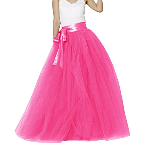 (Lisong Women Floor Length Bowknot Tulle Party Evening Skirt 10 US Hot Pink)