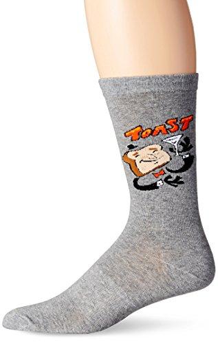 KurB Men's Toast Crew Sock, Charcoal Heather, 10-13/Shoe Size 6-12