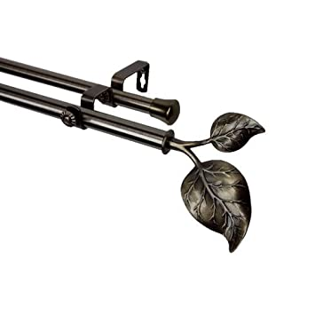Amazon.com: Modern Ivy Double Curtain Rod in Antique Brass Size ...