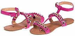 Chatties Ladies Woven Chain Nubuck Sandals Size 5 / 6 (Berry / Gold) - (Multiple Colors and Sizes Available)