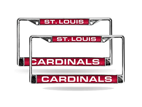 Rico St Louis Cardinals MLB (Set of 2) Chrome Metal Laser Cut License Plate Frames