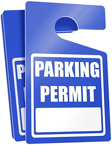 """Parking Permit Hang Tags (Blue) - 10 Tough Thick Re-Usable Weatherproof Passes for Car Or Vehicle Rear View Mirror/Perfect for Employees, Residents, Tenants and More 3"""" x 5"""" by MESS"""