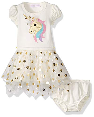 Bonnie Baby Baby Girls Knit Appliqued Tutu Dress, Unicorn, 18M (Bonnie Baby Large Dots Birthday Dress With Headband)