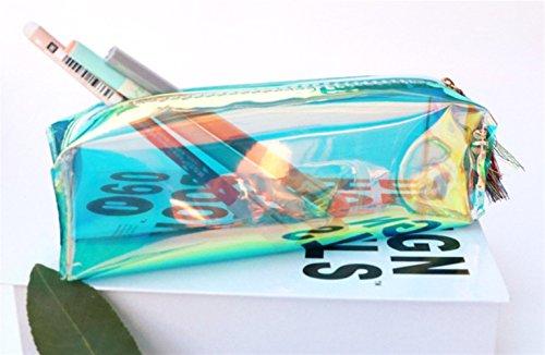 Sevenpring Artículos de papelería Bolso de lápiz Transparente de Estilo Simple Pencil Case Lápiz de Bolso (Verde)