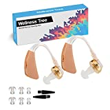 Digital Personal Sound Amplifiers Behind the Ear Hearing Aid Batteries, Receiver-in-Canal (RIC) BTE, Smart Noise Cancelling, 4 Modes w/Volume Control, Open-Fit, Tan (Pair)