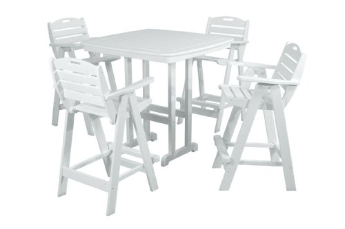 (POLYWOOD PWS144-1-WH Nautical 5-Piece Bar Set with Table and Chair, White)