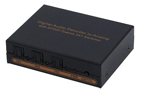 DigitCont Toslink Digital Audio 3x1 Switch Optical 3 In 1 Out w/L/R Adapter RCA Convertor & 3.5mm Headphone Output