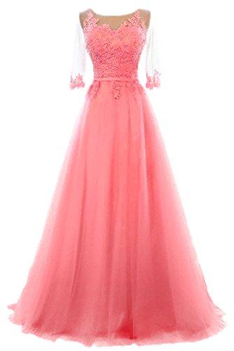 Vickyben Damen A-Linie langes Schnuerung Prinzessin Tuell Abendkleid Ballkleid brautjungfer Cocktail Party kleid Coral