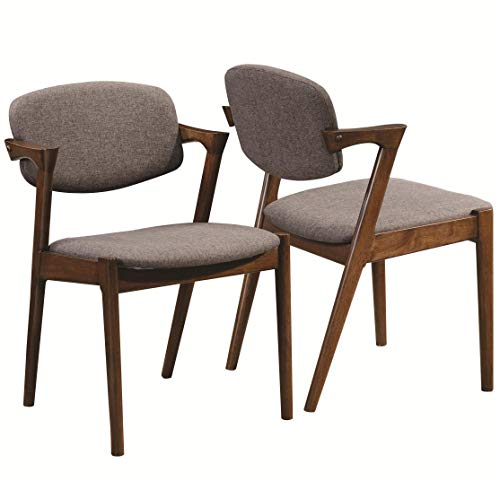 - Malone Dining Side Chairs Grey and Dark Walnut (Set of 2)