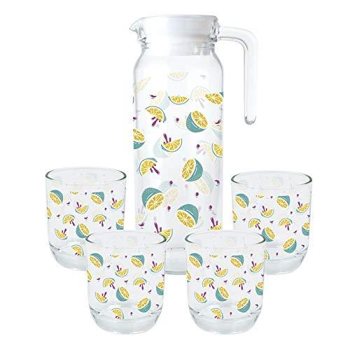 Eideo Home Jarra Agua para Nevera 1 litro y 4 Vasos Lemon Cristal ...