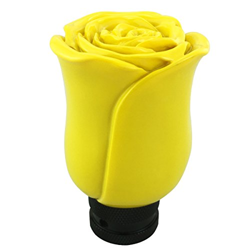 (Abfer Rose Shift Knob Resin Flowers Manual or Automatic Car Gear Shift Head Shifter Lever Stick (Yellow) )