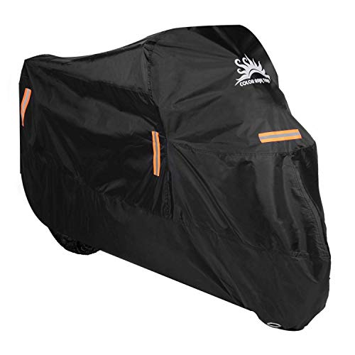 - Color Rain Time Motorcycle Cover UV Dust Waterproof Outdoor Protection, Fits up to 104 Inches Scooter Like Suzuki Honda Yamaha with Lockholes(Black,XXXL)