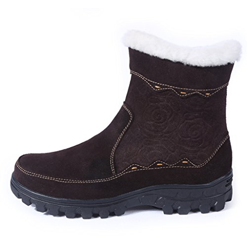 Bull Titan Women's Fully Fur Lined Platform Zippered Winter Snow Boots Brown 7.5M