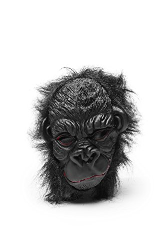 Strong Gorilla Ape Scary Horror Full Face Mask With Hair Halloween Party Unisex (Black)