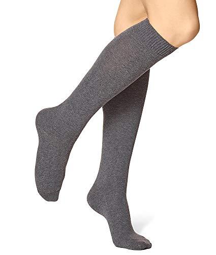 - HUE Flat Knit Knee High Socks, One Size, Graphite Heather