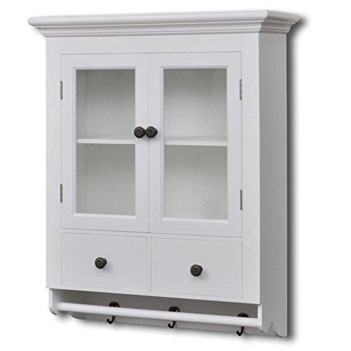 Pine Cupboard Wall (vidaXL Antique MDF White Wooden Kitchen Wall Cabinet w/Glass Door Cupboard Storage)