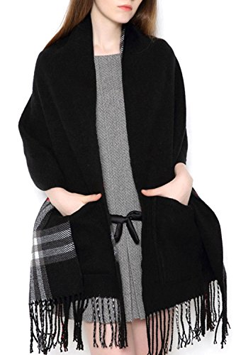 - UTOVME Unisex Reversible Long Scarf Check Shawl Cashmere Feel Stole with Pocket