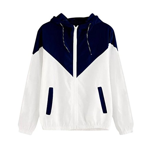 Outerwear Navy Lightweight for Patchwork Zipper Women Plus Motorcycle Full Sleeve Jacket Hoodies Size Sweatshirt Women's Hooded Long Pingtr Coat qf14RTUw