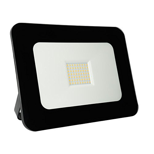Foco Proyector LED SuperSlim 50W Negro Blanco Cálido 3000K efectoLED