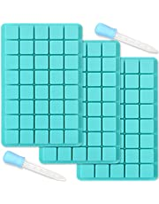 ionEgg 40 Cavities Square Silicone Mold, for Making Chocolate Candy, Ice Cube Tray, Truffles Pralines, 3 Packs and 2 Droppers