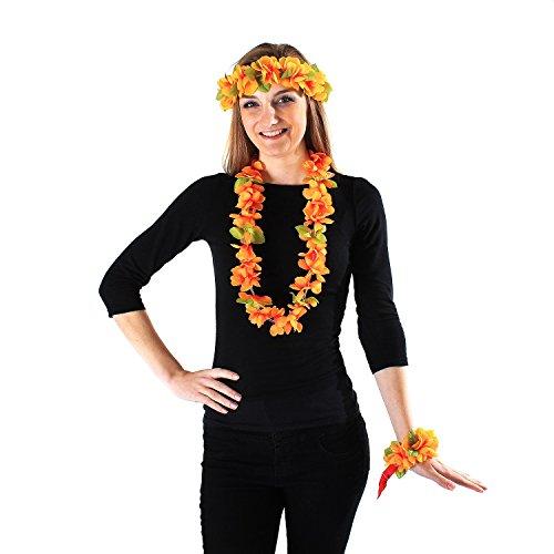 Hawaii Luau Party Artificial Fabric Princess Lei Head Band Haku 2 Wristbands Set Yellow ()