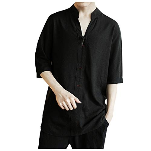 Men's Vintage Linen Patchwork Half Sleeve Tops Blouse Shirt Black