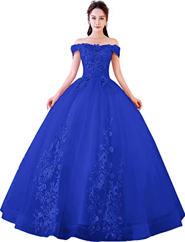 (Okaybrial Women's Sweet 16 Quinceanera Dresses Royal Blue Off Shoulder Lace Long Prom Ball Gowns Size 2)