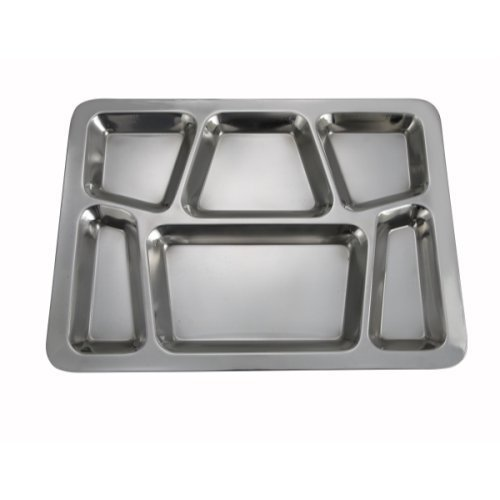 Winco - 6-Compartment Mess Tray, (Style B), (Silver) (Set of 4) by Winco (Image #1)