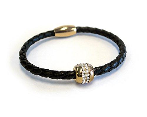 Liza Schwartz Jewelry Good Karma Leather Bracelet (Black-Gold)