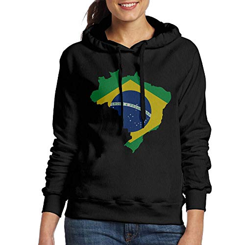Vtw36i-8 Womens Pullover Hoodie, Warm Brazil Map Cotton Blouse Tops for Womens ()