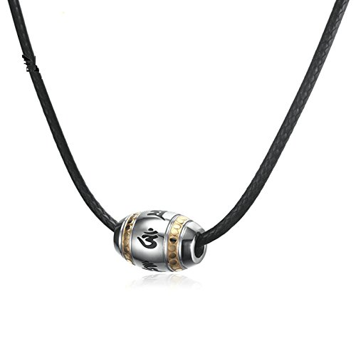 ANAZOZ Men Jewelry, Stainless Steel Om Mani Padme Hum Pendant Necklace Black Leather Cord
