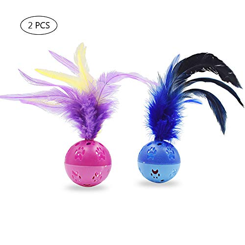 Interactive Cat Toy Balls, Cat Balls with Feathers and Loud Bell Inside Cat Toys Cat Exrecise Toy Balls, Safe for Your Kitty (2Pcs - Red, Blue)