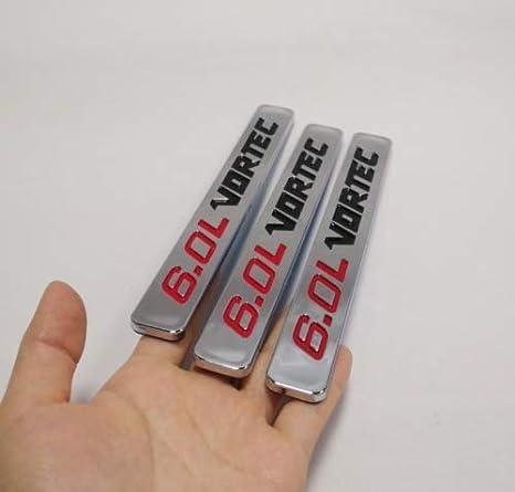 Red Black Three Pcs 6.0L Vortec Adhesive Emblem Badge Compatible with Chevrolet GMC Silverado Z71