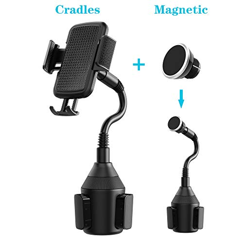 VABSCE Cup Holder Phone Mount, Universal Adjustable Gooseneck Cup Holder Cradle Car Phone Magnetic Mount Compatible with iPhone Xs Xs Max X 8 7 Samsung Galaxy S9 S8 S7 Note8 Note9 Huawei HTC LG