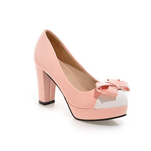 Balamasa Dames Kleurafstemming Dikke Onderkant Hak Gesponnen Goud Strik Nagebootst Lederen Pumps-schoenen Roze