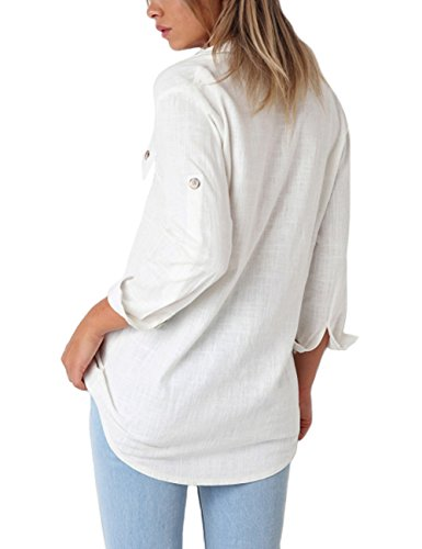 GRAPENT Women's Casual Loose Roll-up Sleeve Blouse Pocket Button Down Shirts Tops L(US 12-14) by GRAPENT (Image #1)