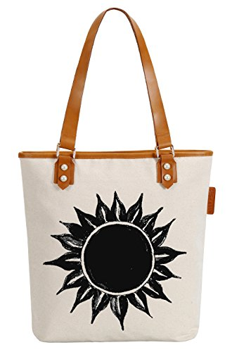 So'each Women's Ink Sun Flower Canvas Tote Pearly Top Handle Shoulder Bag