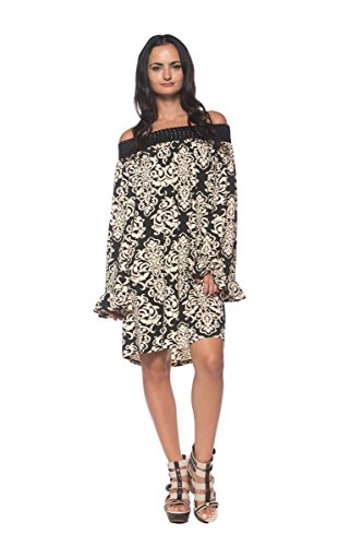 na Tattoo Design Woven Off The Shoulder Black Ivory Dress (Large) ()