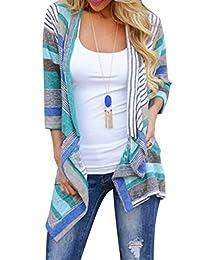 Zehui Cárdigan de Mujer, Blusa Estampada con Costuras de Mujer, Tres Cuartos, cárdigan Transpirable Azul M Estilo Novedad de 2018
