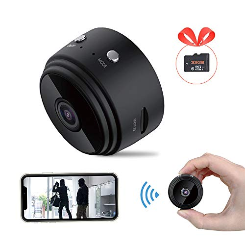 Airsnigi Wireless Mini Camera with Audio,1080P HD WiFi Video Camera with 32G SD Card,Phone APP Control Small Home Security Surveillance Cameras with Night Vision Motion Detection for Car Home Office