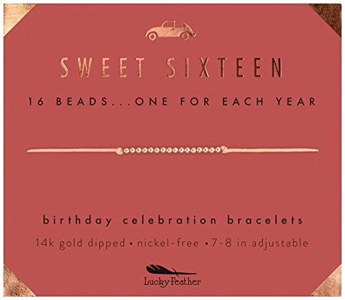 Sixteen Birthday Ideas (Lucky Feather Sweet 16 Gifts for Girls; 16th Birthday Bracelet Gift Idea for 16 Year Old Girls with 14K Rose Gold Dipped Beads on Adjustable)