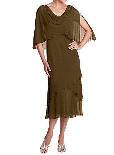 Partykleider Stola Chiffon mit Brautmutterkleider Abendkleider Kurzes 2018 Damen Promkleider Charmant Neu Braun 8nqx1wHYSB