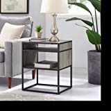 WE Furniture 20'' Metal and Wood Side Table with Open Shelf - Grey Wash