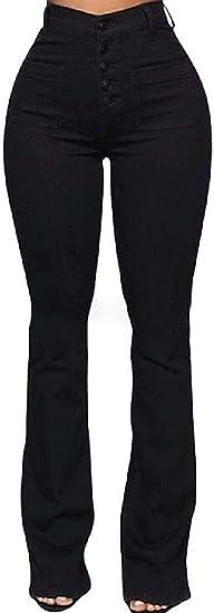 Women's High Waist Boot Cut Buttons Stretch Pockets Denim Jeans Pant