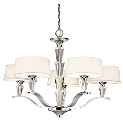 """Kichler 42030 Crystal Persuasion 5 Light 30"""" Wide Chandelier with Etched Glass S,"""
