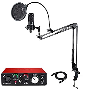Audio Technica AT2035 Microphone with Focusrite Scarlett Solo USB Audio interface (2nd Gen), Knox Mic Desktop Boom Arm…